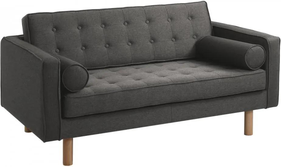 Canapea gri din poliester si lemn pentru 2 persoane Topic Wood Steel