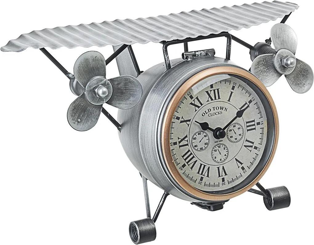 Ceas de masa metal argintiu model Avion 29 cm x 22 cm x 17 h