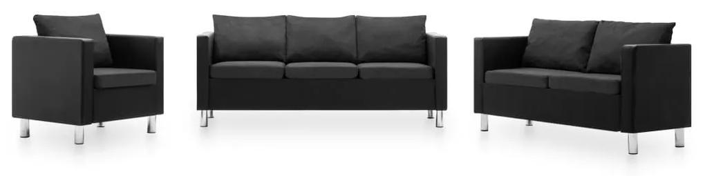 275510 vidaXL Canapele, 3 piese, negru și gri închis, piele ecologică