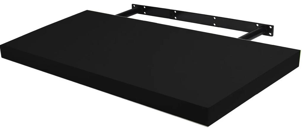 Raft de perete cu suport ascuns, 190x26x5 cm, Negru