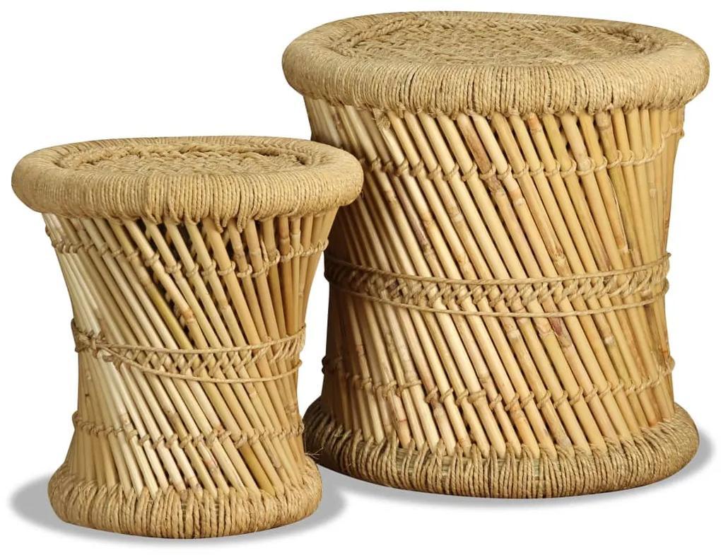 244221 vidaXL Taburete, 2 buc., bambus și iută
