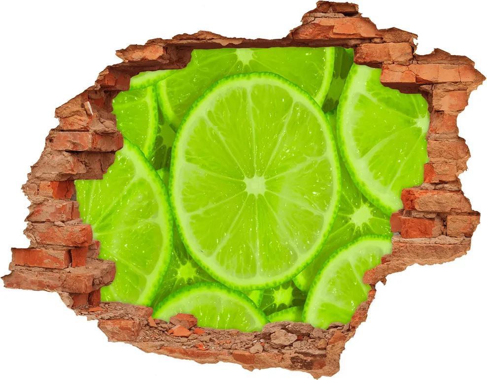 Nálepka diera na stenu betón Limetky