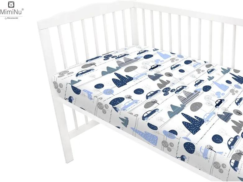 Cearceaf cu elastic 120x60 cm Childrens Journey blue MimiNu
