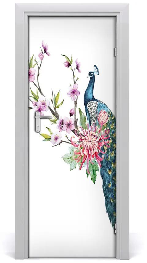 Autocolante pentru usi Peacock și flori