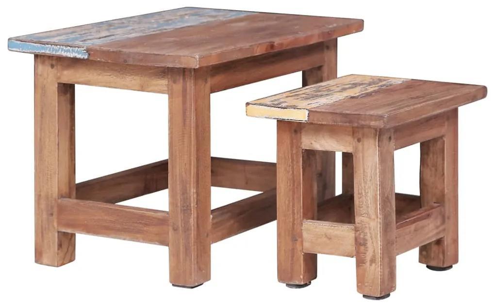 283922 vidaXL Mese suprapuse, 2 buc., lemn masiv reciclat