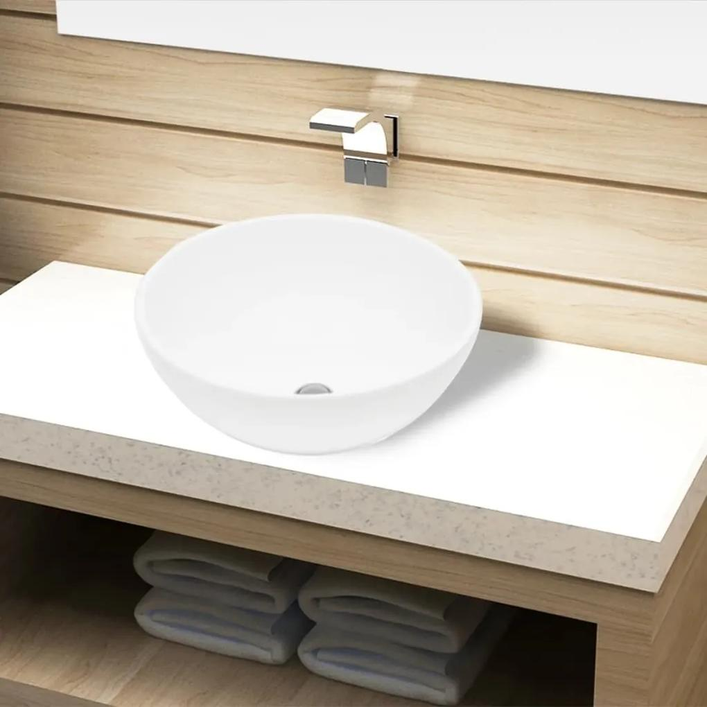 141928 vidaXL Bazin chiuvetă de baie din ceramică, rotund, alb