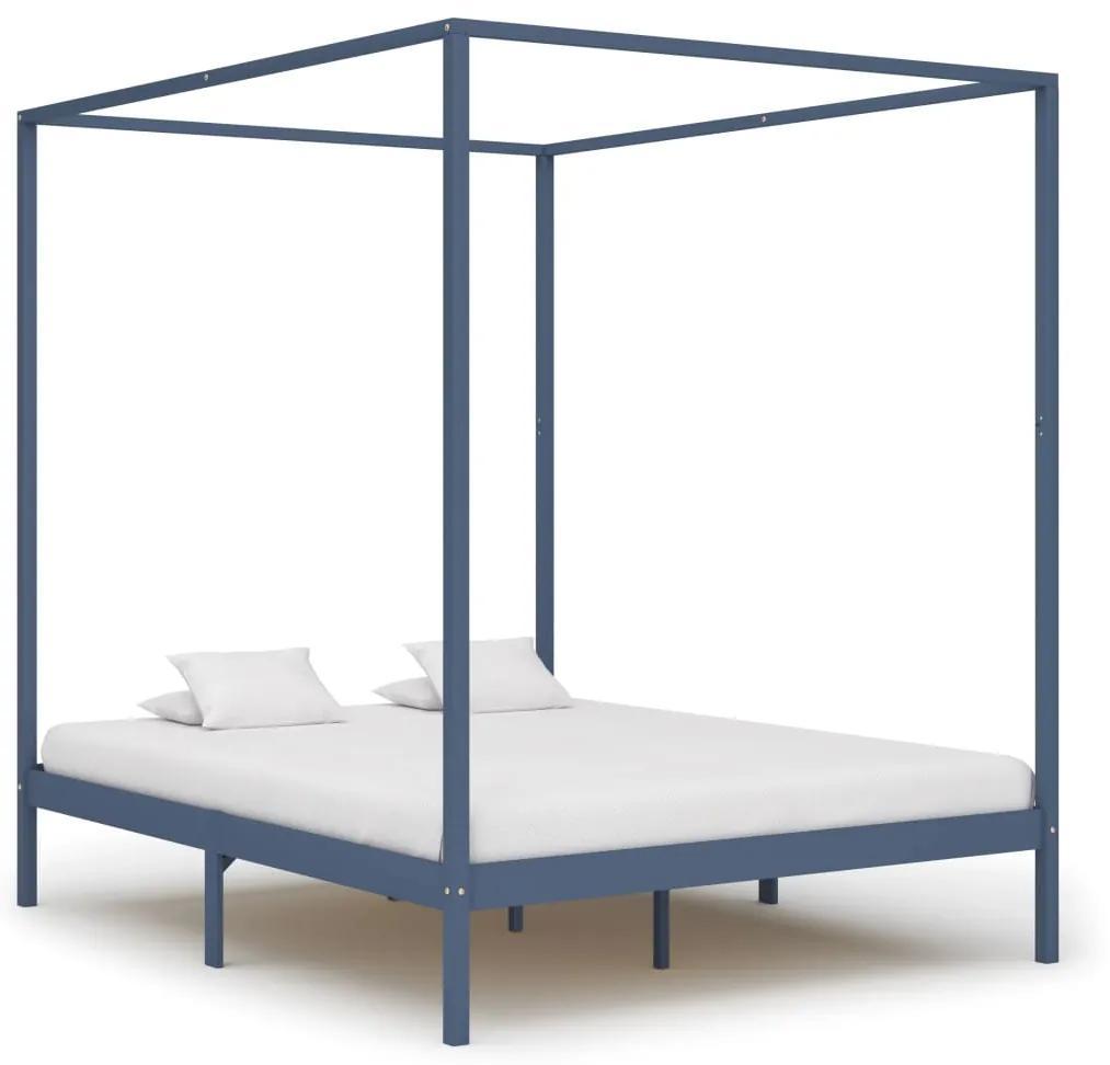 283278 vidaXL Cadru pat cu baldachin, gri, 160 x 200 cm, lemn masiv de pin