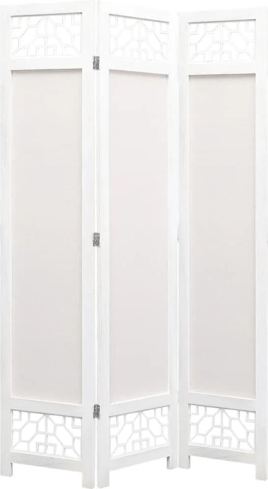 Paravan de camera cu 3 panouri, crem, 105 x 165 cm, textil