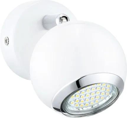 Spot aplicat Bimeda GU10 1x3W, bec LED inclus, crom/alb