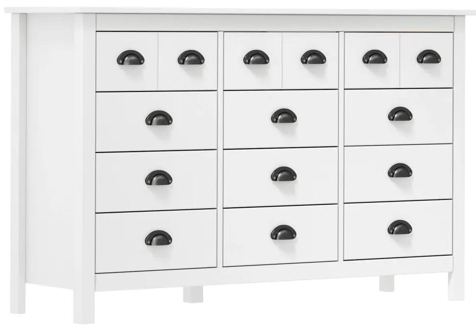 288988 vidaXL Servantă Hill Range, alb, 130 x 37 x 80 cm, lemn masiv de pin