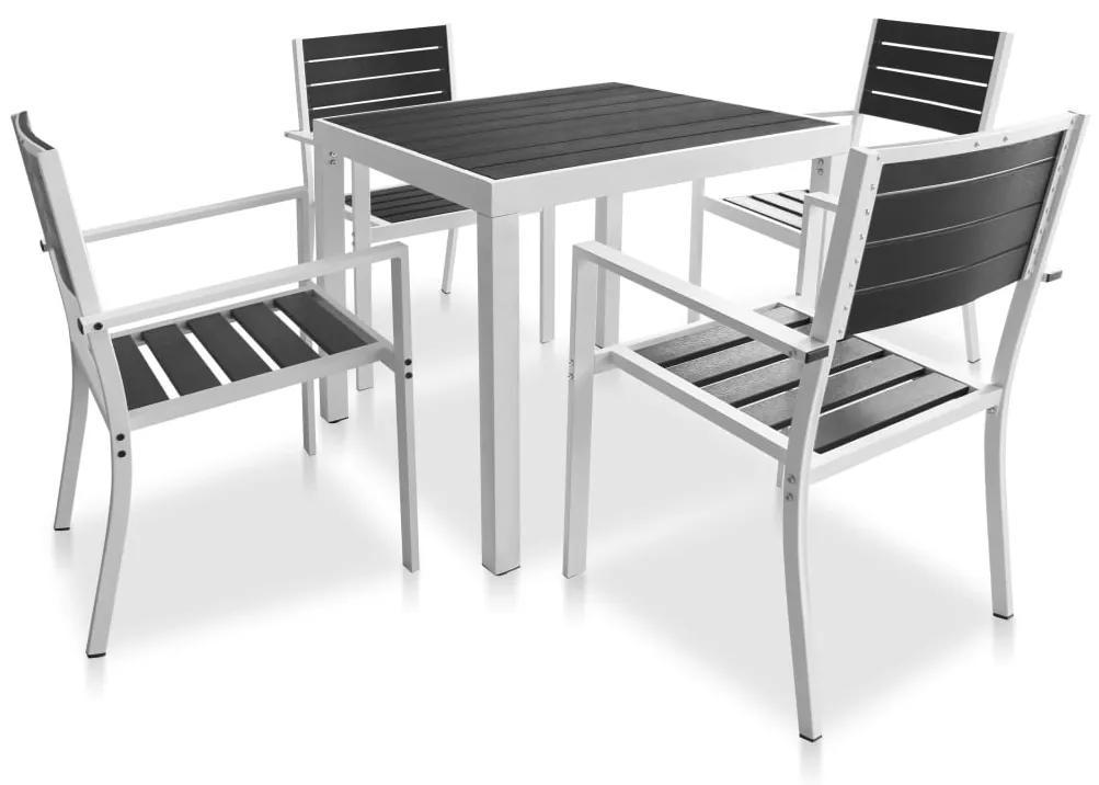 42811 vidaXL Set mobilier de exterior, 5 piese, negru, blat WPC și aluminiu