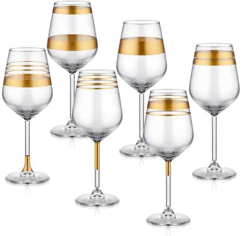 Pahar pentru vin Lines Aur - 6 Piese