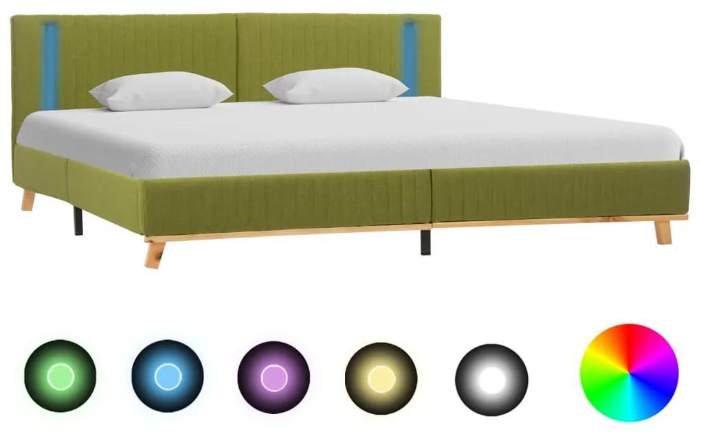 286671 vidaXL Cadru de pat cu LED, verde, 160 x 200 cm, material textil