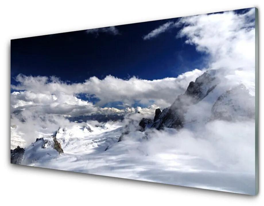 Tablou pe sticla acrilica Nori de munte Peisaj Gri Alb Violet