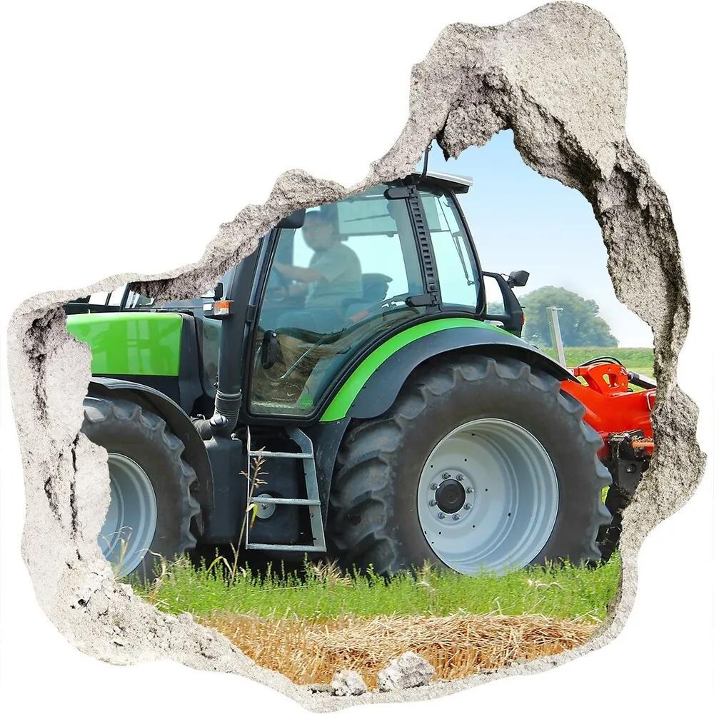 Autocolant un zid spart cu priveliște Tractor pe teren