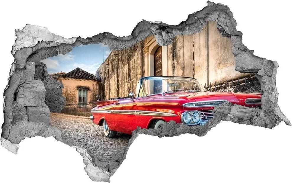Fototapet un zid spart cu priveliște Roșu chevrolet