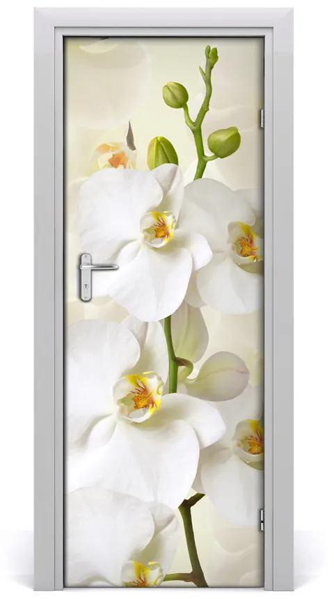 Autocolante pentru usi Wall decal USI autocolant alb orhidee