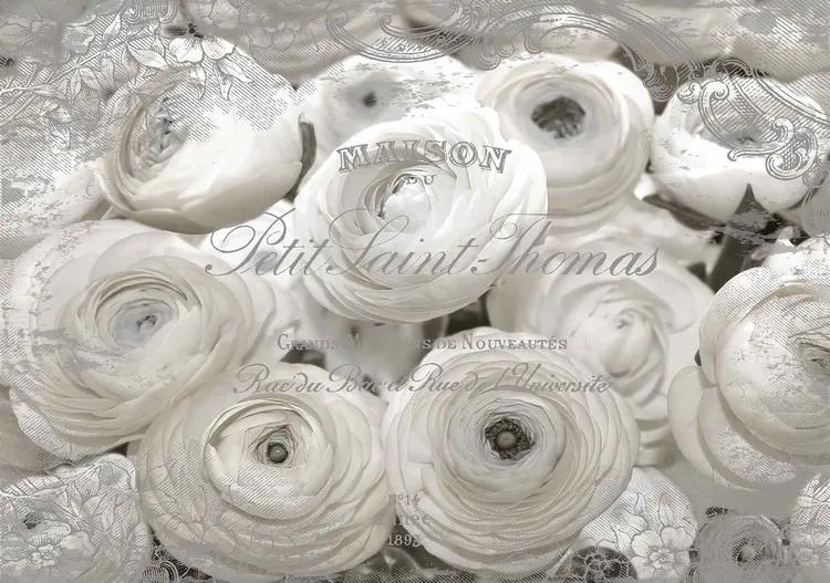 White Roses Vintage Effect Fototapet, (206 x 275 cm)