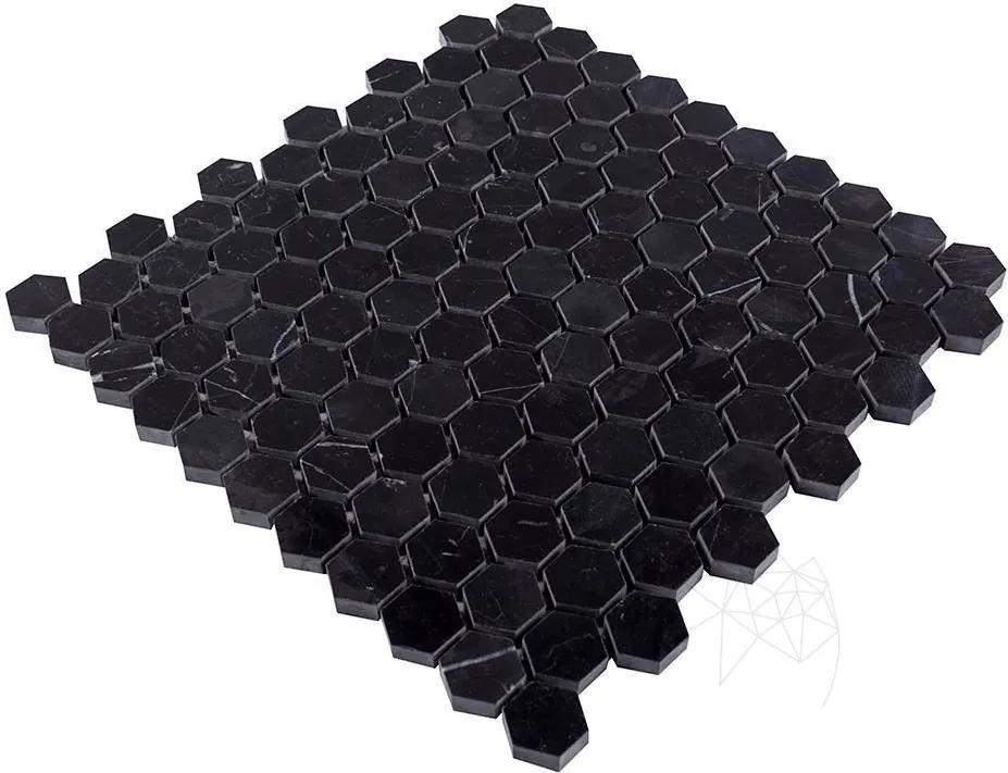 Mozaic Marmura Nero Marquina Hexagon Polisata