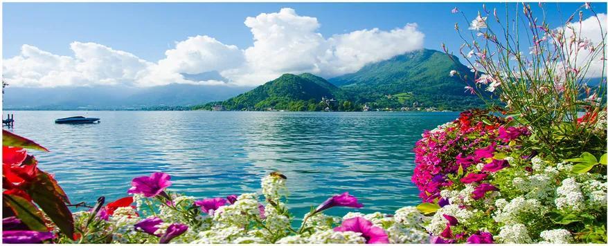 Tablou pe acril Flori pe lac