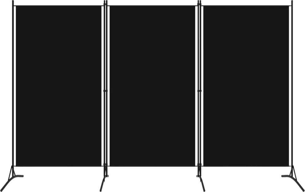 Paravan de camera cu 3 panouri, negru, 260 x 180 cm