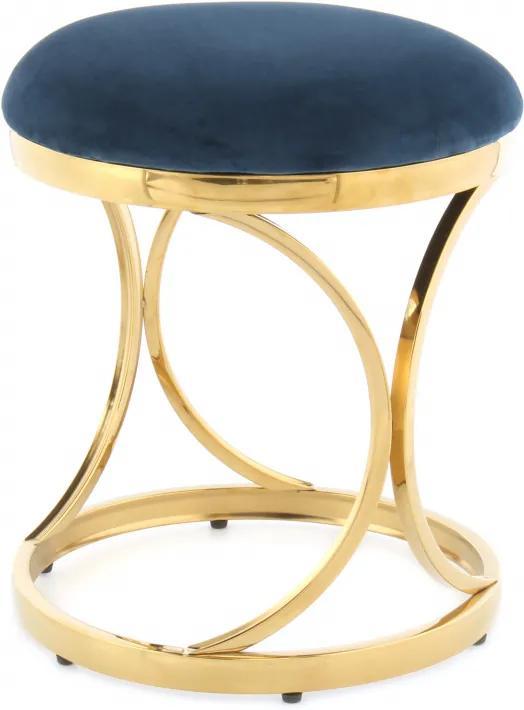 Puf/ Taburet tapitat Weyda albastru / auriu
