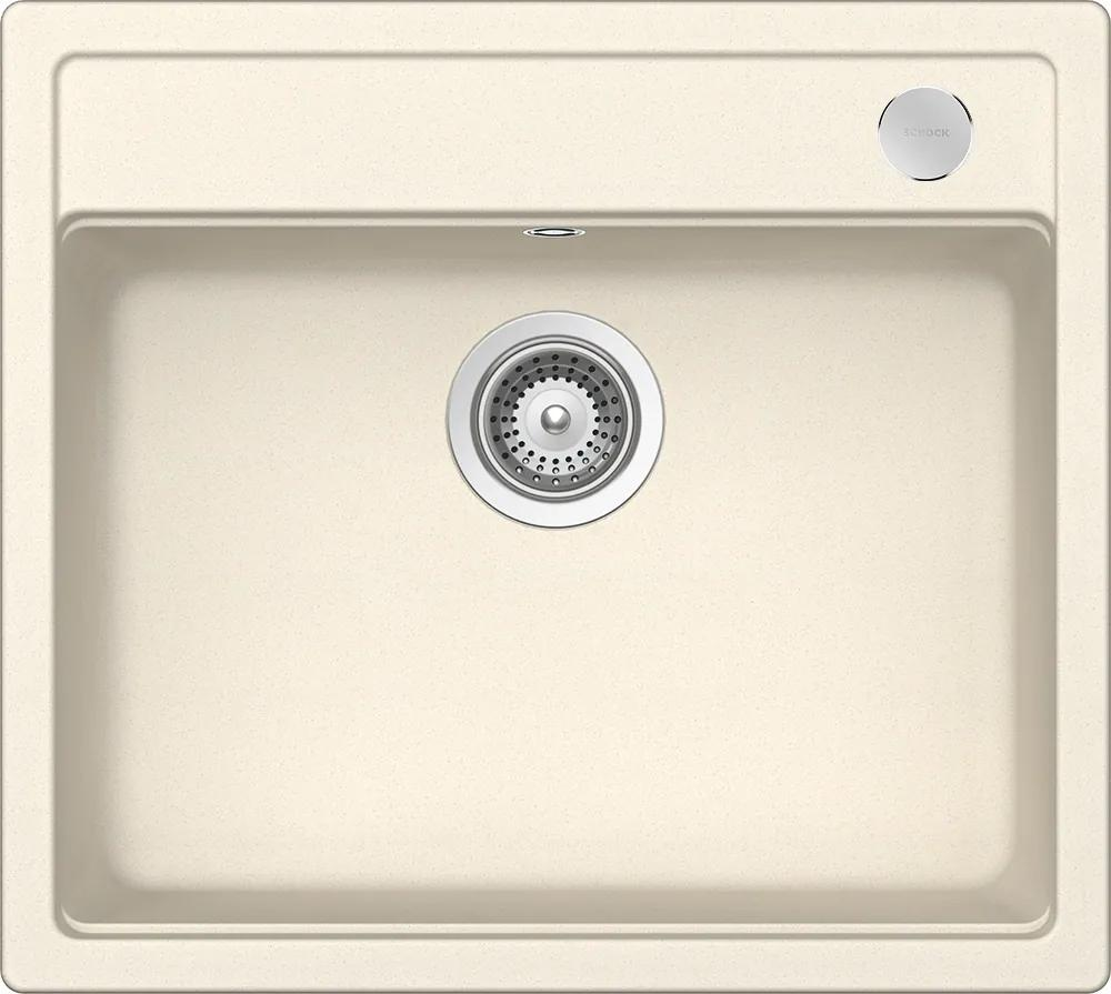 Chiuveta Granit Schock Mono N-100 Magnolia Cristadur 570 x 510 mm cu Sifon Automat