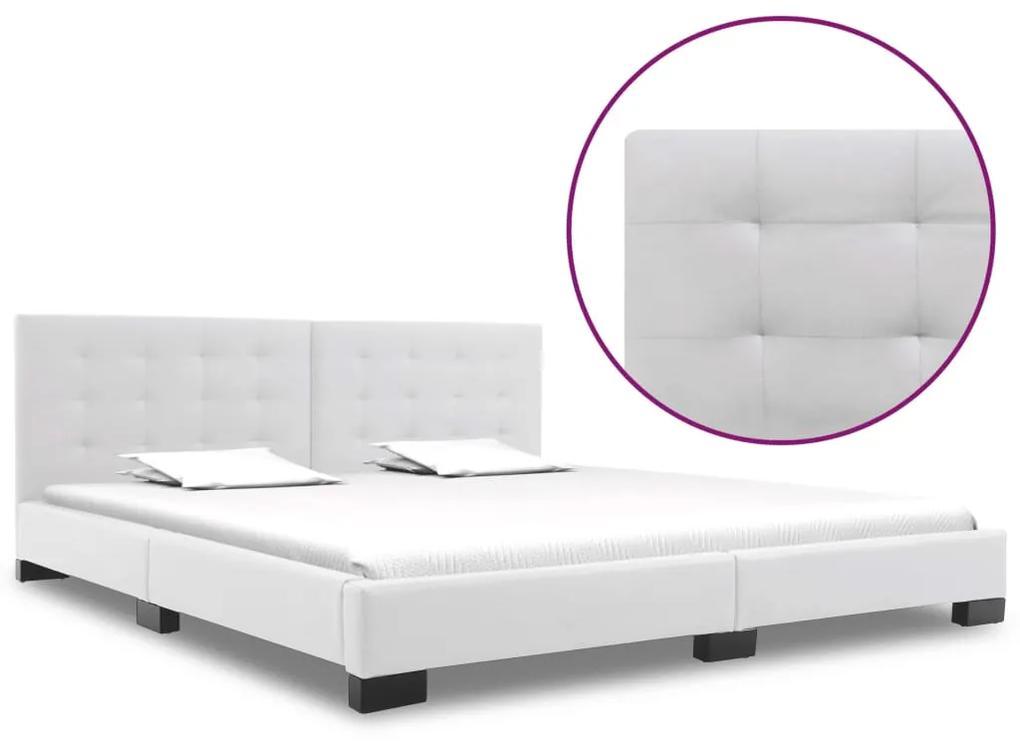 280636 vidaXL Cadru de pat, alb, 180 x 200 cm, piele artificială