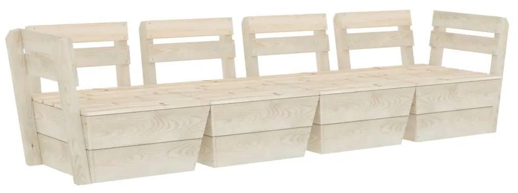 3063713 vidaXL Canapea de grădină din paleți, 4 locuri, lemn de molid tratat