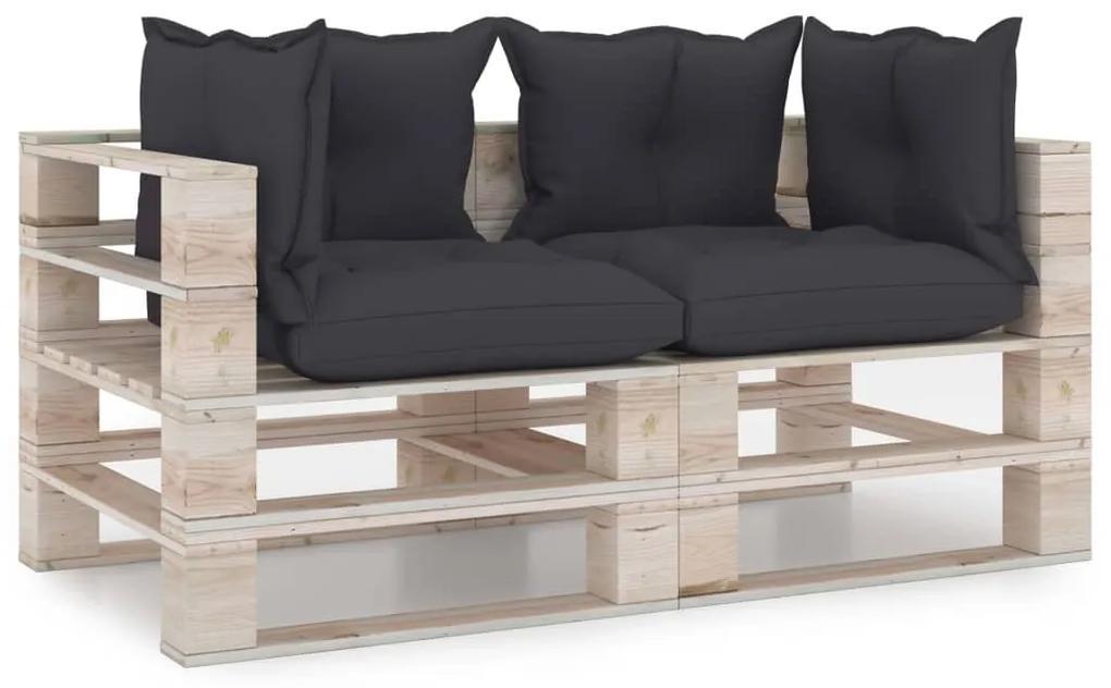 3066100 vidaXL Canapea de grădină din paleți, 2 locuri, cu perne, lemn de pin