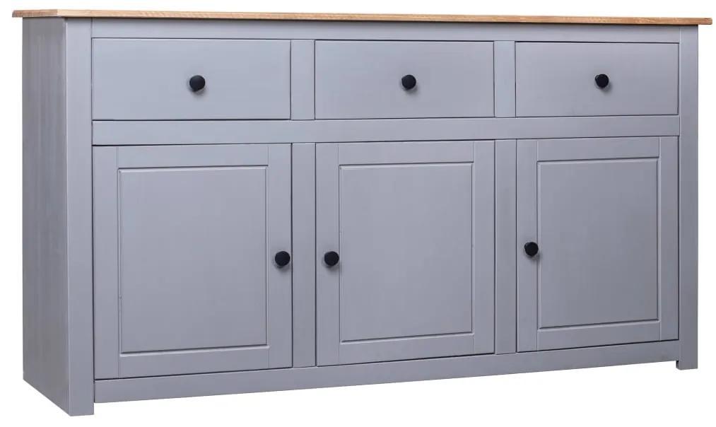 282704 vidaXL Servantă, gri, 135 x 40 x 80 cm, lemn masiv pin, gama Panama
