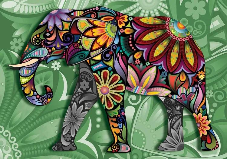 Elephant Flowers Abstract Colours Fototapet, (368 x 254 cm)