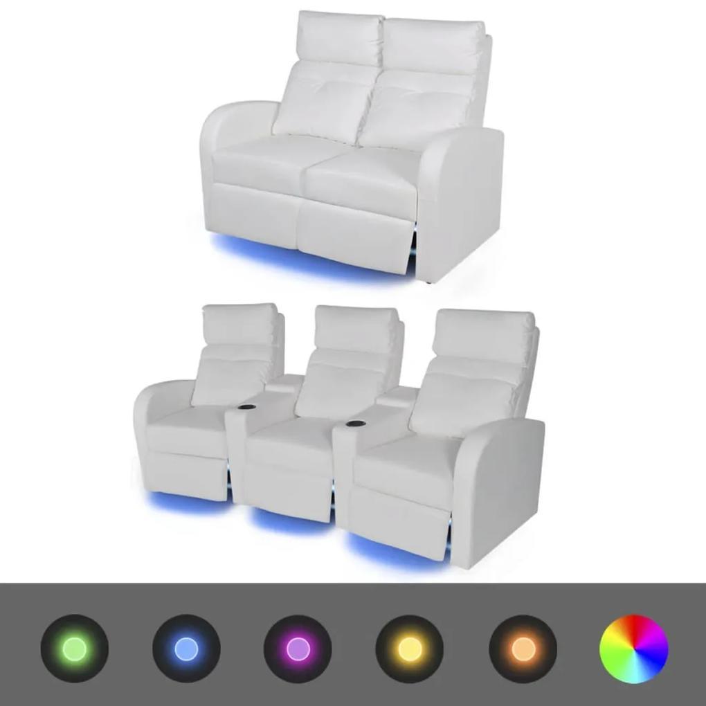 274313 vidaXL Canapea rabatabilă cu LED, 2+3 locuri, piele artificială, alb
