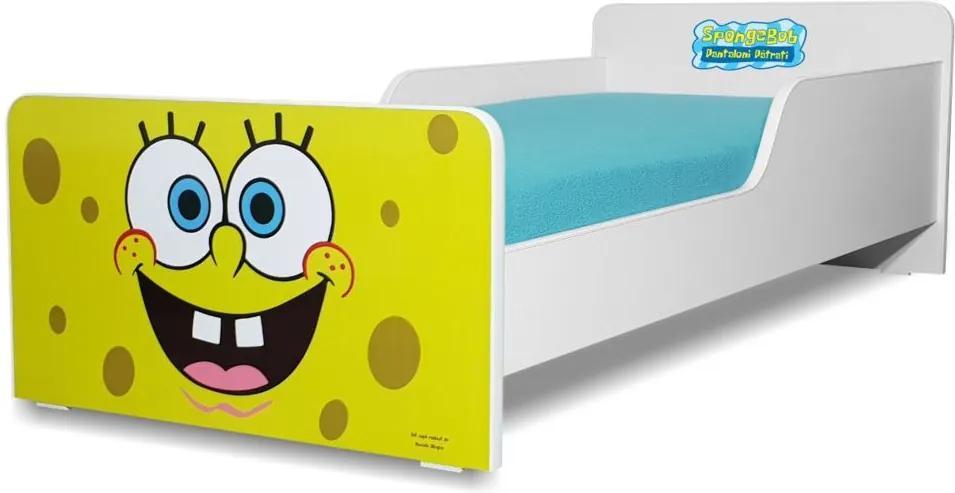 Pat copii  Sponge Bob 2-8 ani cu saltea cadou