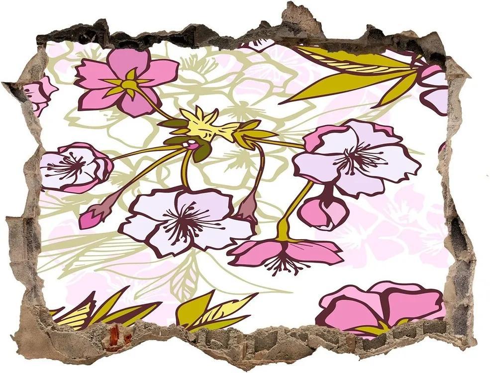 Autocolant 3D gaura cu priveliște Flori de cireș
