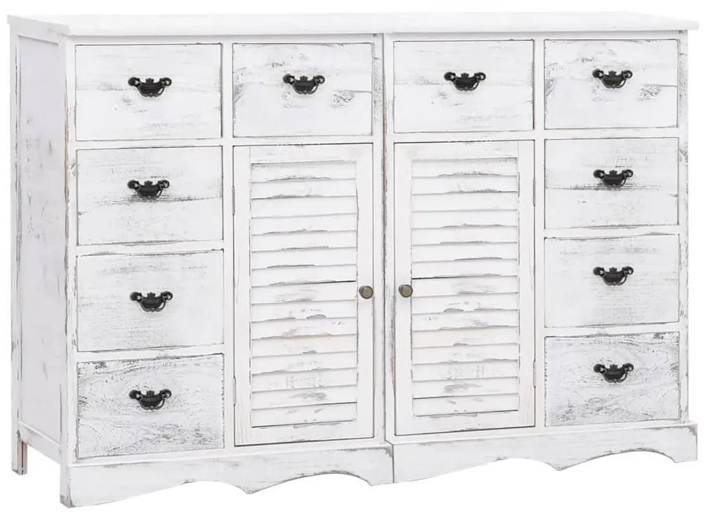 284179 vidaXL Servantă cu 10 sertare, alb, 113 x 30 x 79 cm, lemn