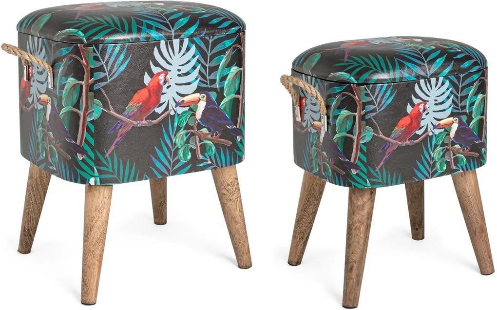 Set 2 tabureti tapiterie piele ecologica cu picioare lemn natur Forestis 34 cm x 28.5 cm x 42 h; 37.5 cm x 34.5 cm x 47 h