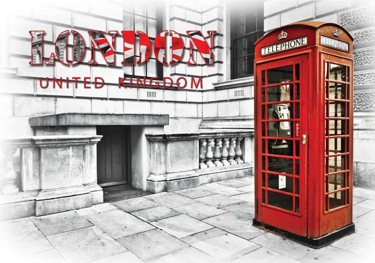 City London Telephone Box Red Fototapet, (152.5 x 104 cm)