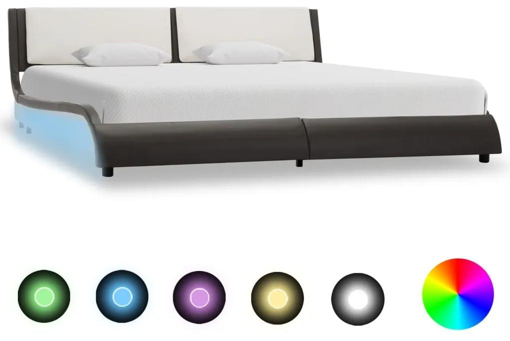 280371 vidaXL Cadru de pat cu LED, gri și alb, 180x200 cm, piele ecologică