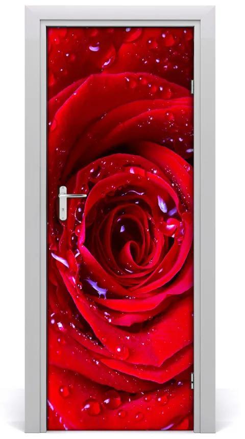 Autocolante pentru usi Trandafir roșu