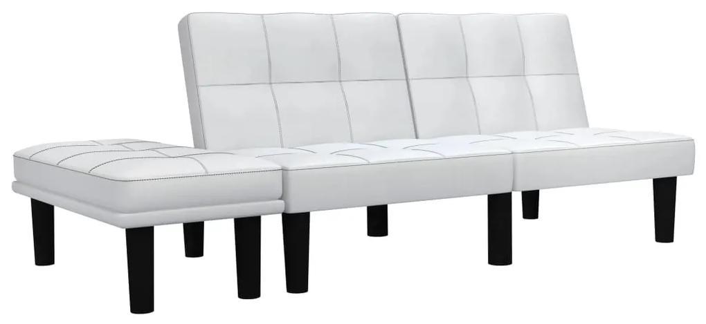 284758 vidaXL Canapea cu 2 locuri, alb, piele ecologică