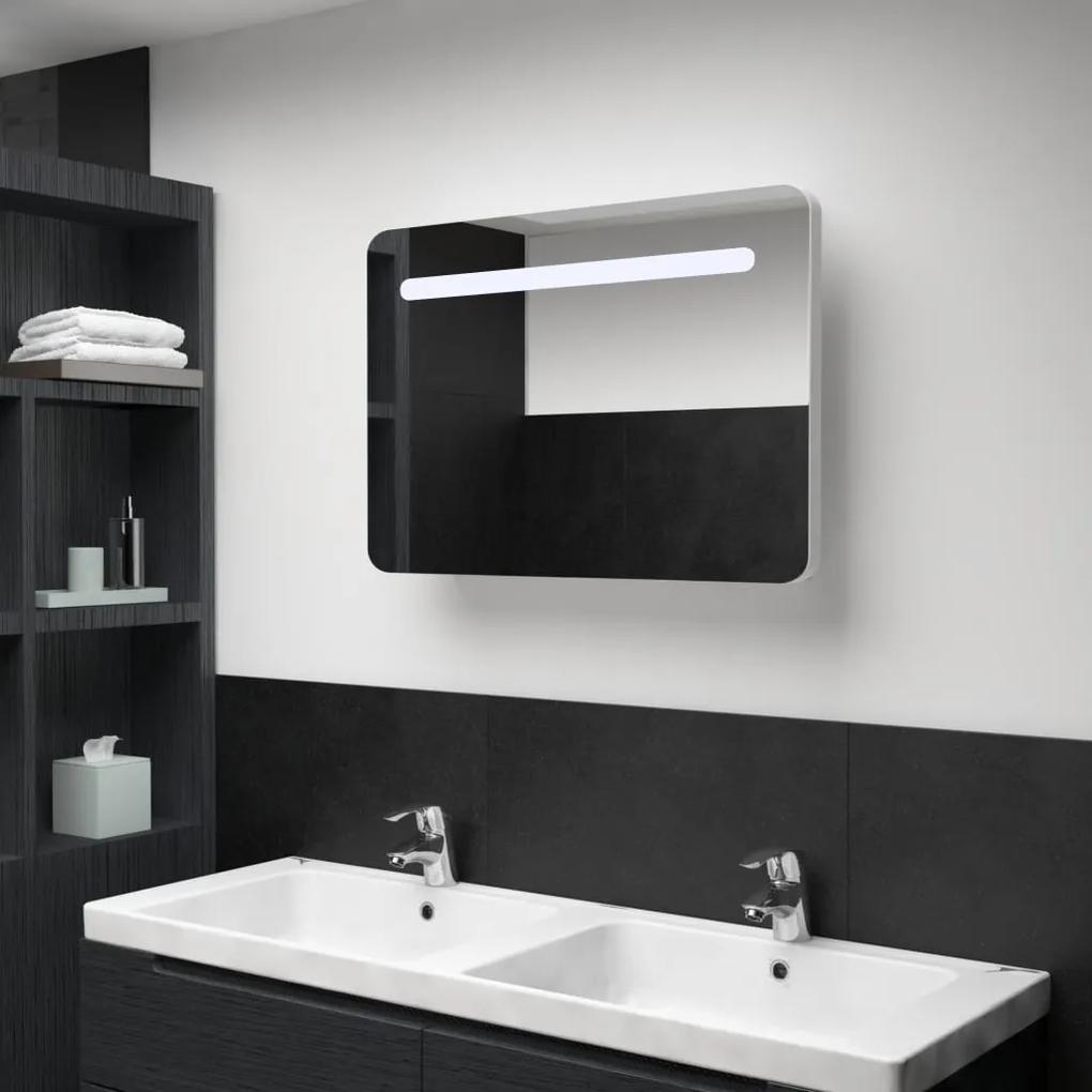 285120 vidaXL Dulap de baie cu oglindă și LED, 80 x 11 x 55 cm