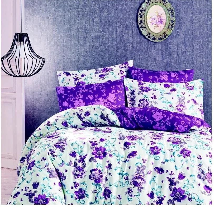 Lenjerie de pat din bumbac satinat cu cearșaf Blair, 160 x 220 cm