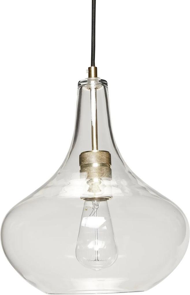 Lampa Suspendata din Sticla si Alama cu Fir Negru - Sticla Transparent Diametru(28 cm) x Inaltime( 35 cm)