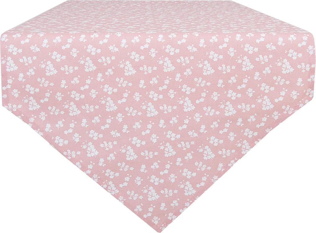 Fata de masa bumbac roz pudrat Flowers 50*160 cm