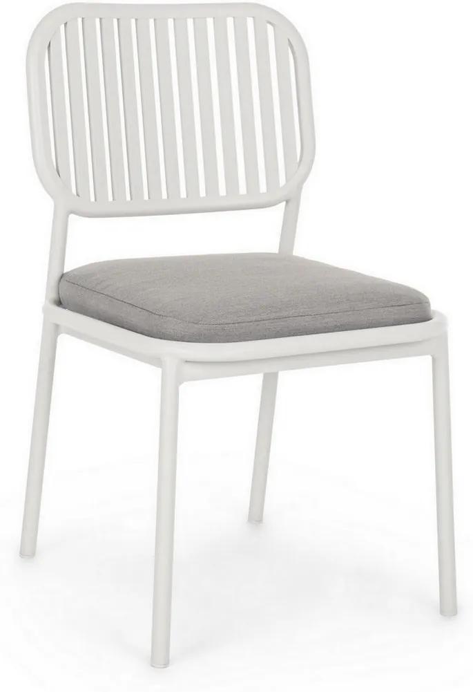 Scaun cu spatar fier alb perna gri Rodrigo 49 cm x 59 cm x 86 h x 49 h1