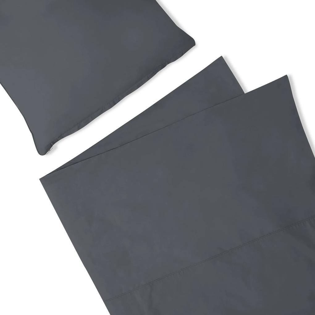 Lenjerie de pat din bumbac Premium Basic Graphite 200x200+2x50/60 cm