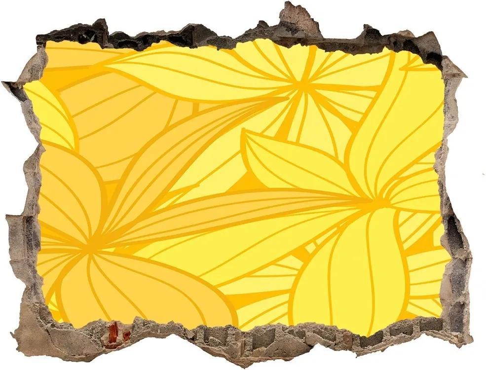 Fototapet un zid spart cu priveliște Flori galbene de fundal