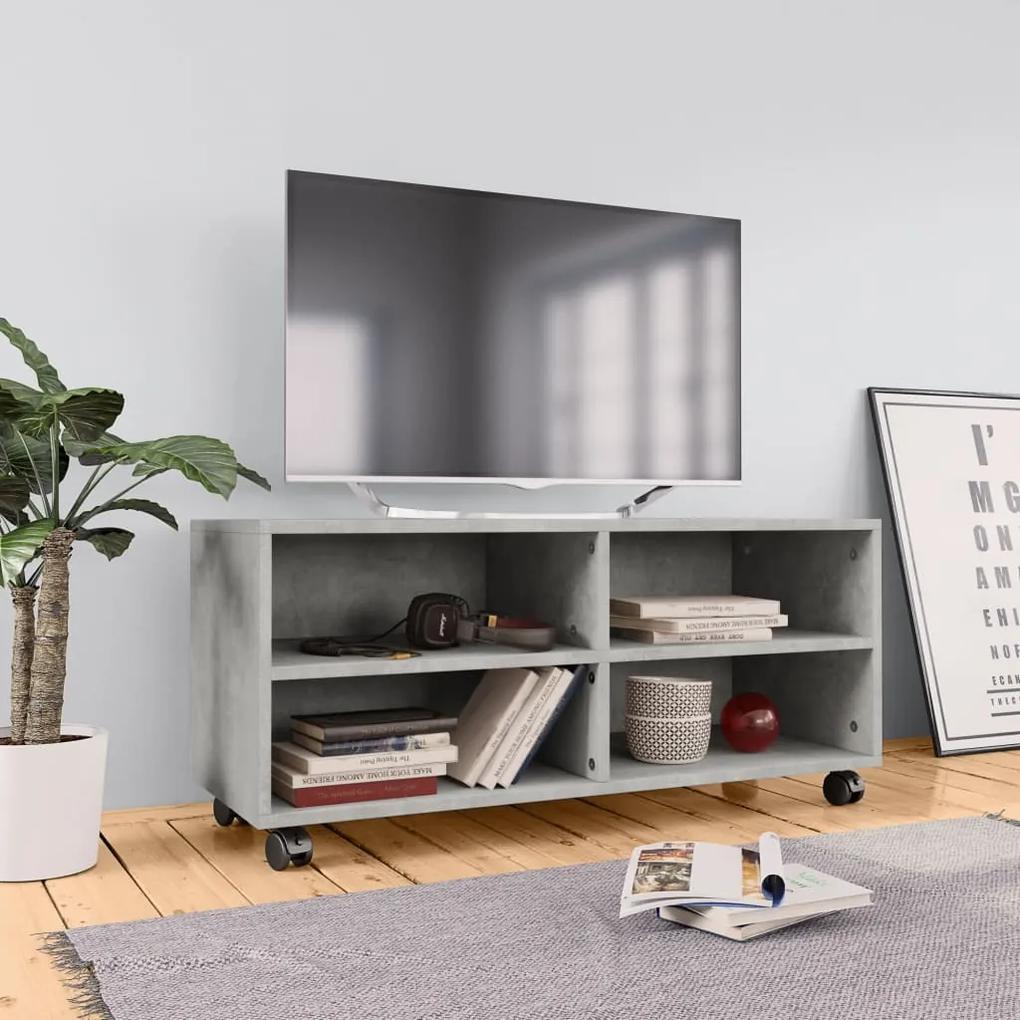 800184 vidaXL Comodă TV cu rotile, gri beton, 90x35x35, PAL