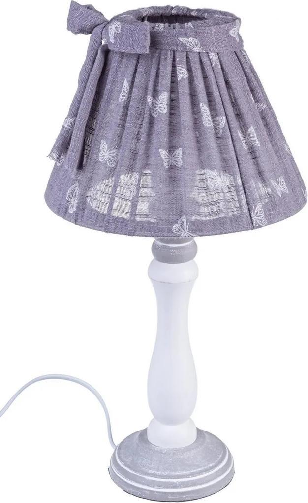 Veioza lemn alb cu abajur violet Mimy Ø 22 cm x 40 h